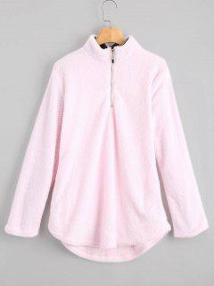 High Neck Half Zip Faux Fur Sweatshirt - Pink S
