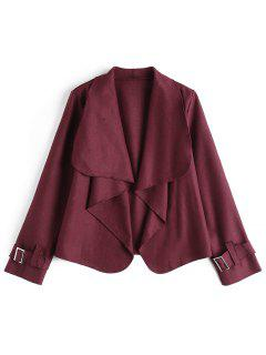 Belted Sleeve Open Front Jacket - Wine Red S