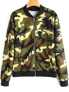 Zip Up Camouflage Pilot Jacket - Army Green S