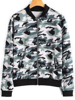 Zip Up Camouflage Pilot Jacke - Weiß S