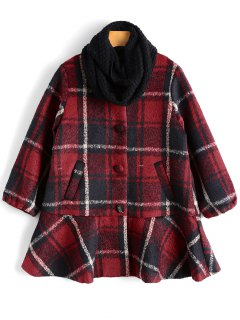 Button Up Tartan Coat With Scarf - Red S