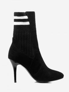 Ankle Striped Stiletto Boots - Black 38