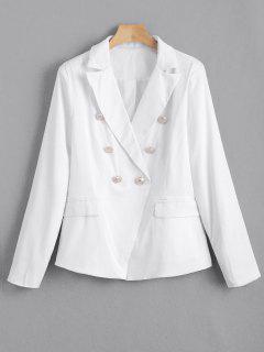 Faux Pockets Button Embellished Blazer - White S