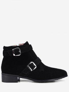 Stitching Buckle Strap Ankle Boots - Black 36