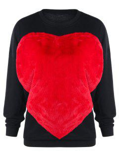 Two Tone Fluffy Heart Sweatshirt - Black S
