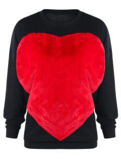 Two Tone Fluffy Heart Sweatshirt - Black L