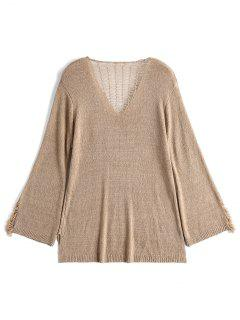 V Neck Distressed Knitwear - Apricot