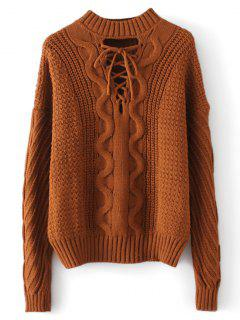 Cable Knit Panel Lace Up Sweater - Light Coffee