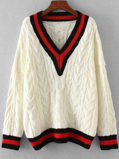 Stripes Panel Oversized V Neck Sweater - White