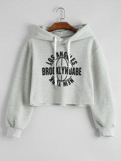 Los Angeles Graphic Cropped Hoodie - Light Gray Xl