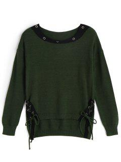 Color Block Lace Up High Low Sweater - Vert Armée