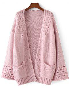 Open Front Cable Knit Panel Cardigan - Pink