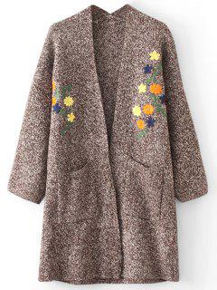 Heathered Open Front Floral Gestickte Strickjacke - Braun