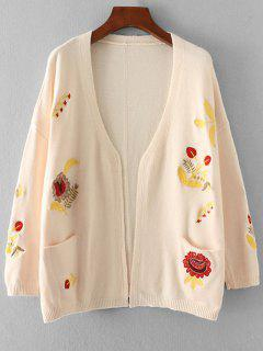 Pockets Floral Embroidered Open Front Cardigan - Off-white