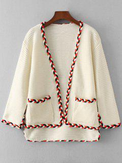 Contrasting Braided Open Front Cardigan - White