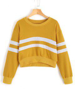 Casual Crop Striped Sweatshirt - Yellow S