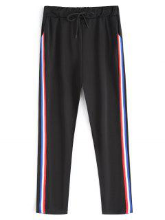 Drawstring Stripe Running Pants - Black