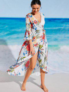 Floral Bohemian Wrap Beach Dress - White S
