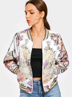 Floral Print Zip Up Bomber Jacket - Floral M