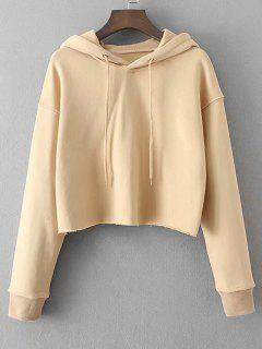 Casual Drop Shoulder Frayed Hem Hoodie - Apricot S