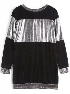Contrast Shiny Velvet Sweatshirt - Black + Silver S