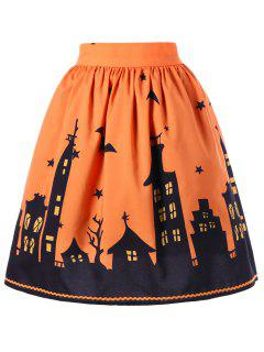 Halloween Graphic A-line Skirt - Orange M