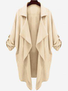 Drop Shoulder Asymmetric Draped Trench Coat - Apricot L