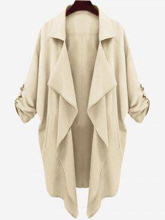 Drop Shoulder Asymmetric Draped Trench Coat - Light Khaki L