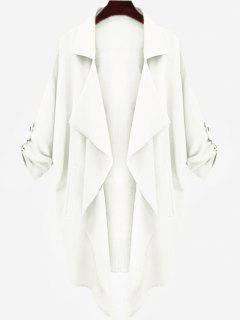 Manteau à Ossature Drapée Asymétrique - Blanc M