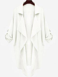 Drop Shoulder Asymmetric Draped Trench Coat - White S