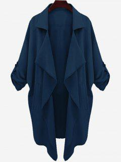 Drop Shoulder Asymmetric Draped Trench Coat - Cerulean S