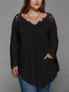 Plus Size Lace Insert Long Sleeve Tunic T-Shirt - Black Xl