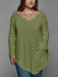 Plus Size Lace Insert Long Sleeve Tunic T-Shirt - Olive Green Xl