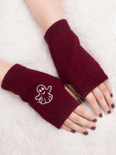 Halloween Ghost Fingerless Knitted Gloves - Wine Red