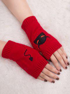 Halloween Devil Pattern Fingerless Knit Gloves - Red