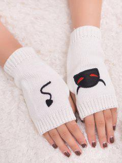 Halloween Devil Pattern Fingerless Knit Gloves - White