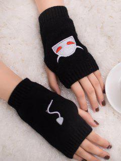 Halloween Devil Pattern Fingerless Knit Gloves - Black