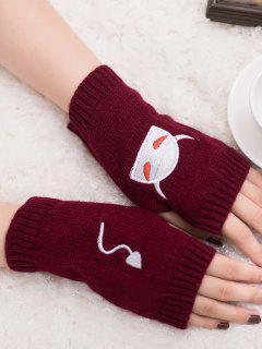 Halloween Devil Pattern Fingerless Knit Gloves - Wine Red