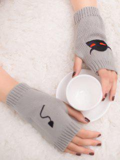 Halloween Devil Pattern Fingerless Knit Gloves - Light Gray