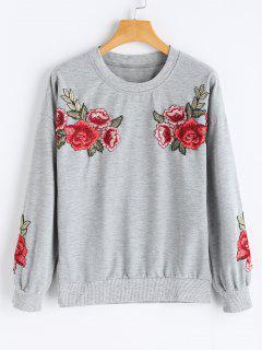 Flower Applique Crew Neck Sweatshirt - Gray M