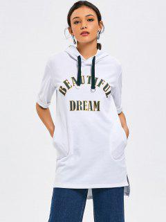 Short Sleeve Letter High Low Hoodie - White S