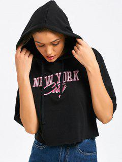 Cropped Oversized Letter Hoodie - Black S