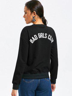 Casual Loose Letter Back Sweatshirt - Black S
