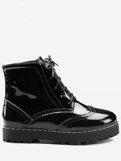 Lace Up Wingtip Ankle Boots - Black 39