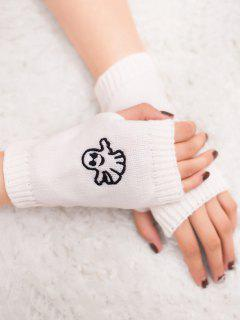 Halloween Ghost Fingerless Knitted Gloves - White