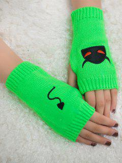 Halloween Devil Pattern Fingerless Knit Gloves - Neon Green