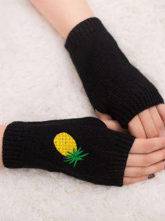 Halloween Pineapple Embroidery Fingerless Knit Gloves - Black