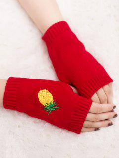 Halloween Pineapple Embroidery Fingerless Knit Gloves - Bright Red