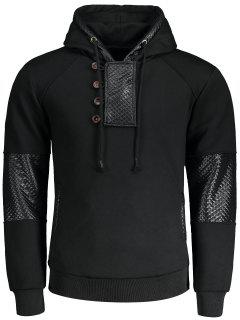 Fleece Faux Leather Panel Hoodie - Black L