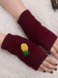 Halloween Pineapple Embroidery Fingerless Knit Gloves - Wine Red